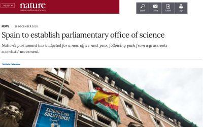Nature destaca la creación de la oficina de asesoramiento científico y Ciencia en el Parlamento